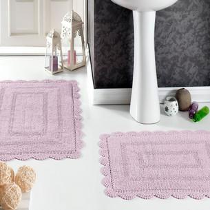 Набор ковриков для ванной Modalin EVORA вязаный хлопок 50х70, 60х100 лавандовый