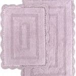 Набор ковриков для ванной Modalin EVORA вязаный хлопок 50х70, 60х100 лавандовый, фото, фотография