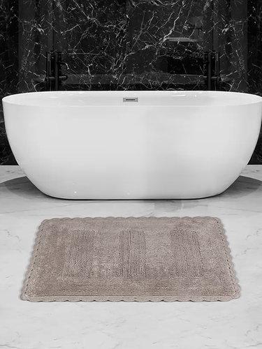 Коврик для ванной Karna LENA вязаный хлопок кофейный 50х70, фото, фотография