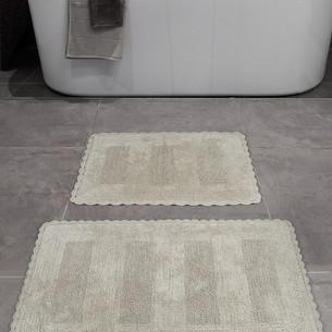 Набор ковриков для ванной Karna LENA вязаный хлопок 50х70, 60х100 бежевый