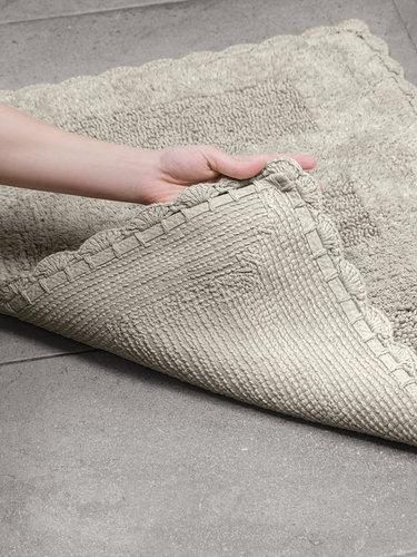 Набор ковриков для ванной Karna LENA вязаный хлопок 50х70, 60х100 бежевый, фото, фотография