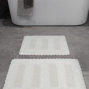 Набор ковриков для ванной Karna LENA вязаный хлопок 50х70, 60х100 кремовый