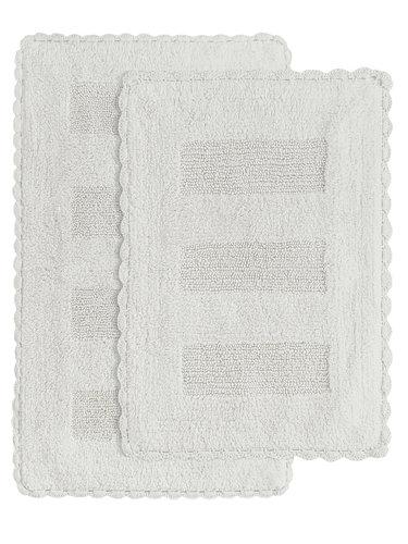 Набор ковриков для ванной Karna LENA вязаный хлопок 50х70, 60х100 кремовый, фото, фотография