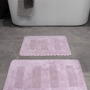 Набор ковриков для ванной Karna LENA вязаный хлопок 50х70, 60х100 лавандовый