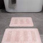 Набор ковриков для ванной Karna LENA вязаный хлопок 50х70, 60х100 розовый, фото, фотография