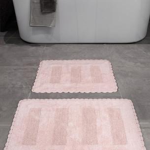 Набор ковриков для ванной Karna LENA вязаный хлопок 50х70, 60х100 розовый