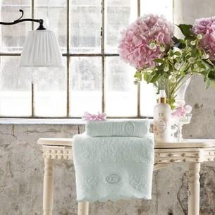 Подарочный набор полотенец для ванной 2 пр. Tivolyo Home ANTOINETTE хлопковая махра бирюзовый