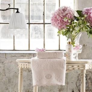 Подарочный набор полотенец для ванной 2 пр. Tivolyo Home ANTOINETTE хлопковая махра розовый