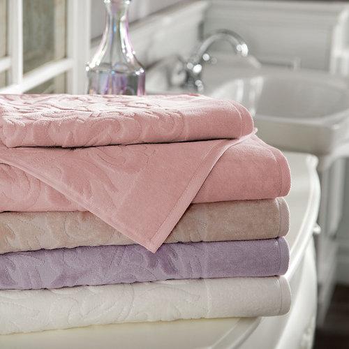 Подарочный набор полотенец для ванной 2 пр. Tivolyo Home BAROC хлопковая махра розовый, фото, фотография