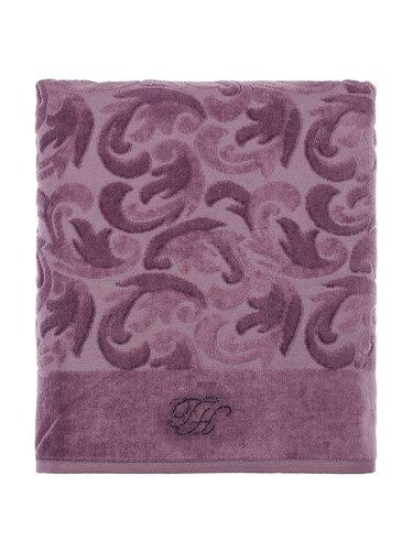 Подарочный набор полотенец для ванной 2 пр. Tivolyo Home BAROC хлопковая махра фиолетовый, фото, фотография