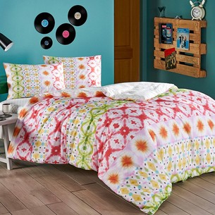 Комплект подросткового постельного белья TAC ENZO хлопковый ранфорс зелёный, красный евро