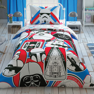 Детское постельное белье TAC STAR WARS GALACTIC MISSION хлопковый ранфорс 1,5 спальный