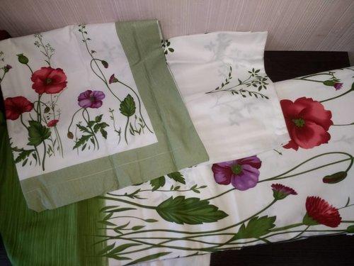 Постельное белье Le Vele GARDEN хлопковый сатин делюкс зелёный евро, фото, фотография