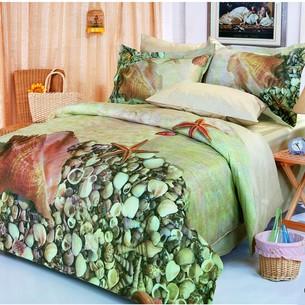 Постельное белье Le Vele DENIZ PHOTO хлопковый сатин делюкс бежевый, зелёный семейный