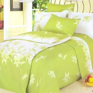 Постельное белье Le Vele PERFUME LILY хлопковый сатин делюкс зелёный евро