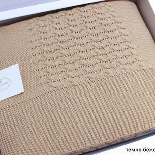 Вязаный плед-покрывало Tivolyo Home VIKA коричневый 220х240