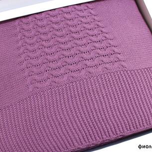 Вязаный плед-покрывало Tivolyo Home VIKA фиолетовый 220х240