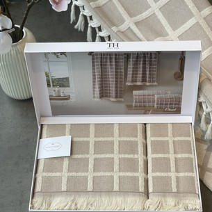 Подарочный набор полотенец для ванной 2 пр. Tivolyo Home CHANEL хлопковая махра бежевый