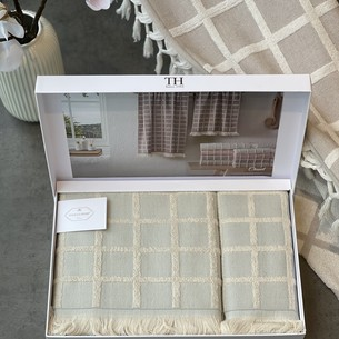 Подарочный набор полотенец для ванной 2 пр. Tivolyo Home CHANEL хлопковая махра бирюзовый