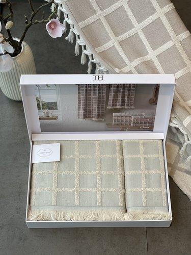 Подарочный набор полотенец для ванной 2 пр. Tivolyo Home CHANEL хлопковая махра бирюзовый, фото, фотография