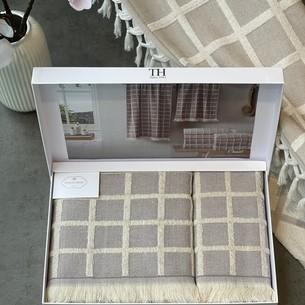 Подарочный набор полотенец для ванной 2 пр. Tivolyo Home CHANEL хлопковая махра лиловый