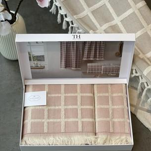 Подарочный набор полотенец для ванной 2 пр. Tivolyo Home CHANEL хлопковая махра розовый