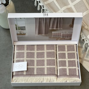 Подарочный набор полотенец для ванной 2 пр. Tivolyo Home CHANEL хлопковая махра фиолетовый