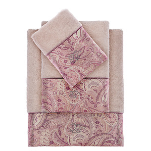 Подарочный набор полотенец для ванной 3 пр. + спрей Tivolyo Home ETTO хлопковая махра бежевый