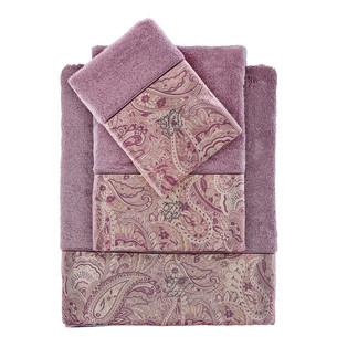 Подарочный набор полотенец для ванной 3 пр. + спрей Tivolyo Home ETTO хлопковая махра фиолетовый