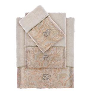 Подарочный набор полотенец для ванной 3 пр. + спрей Tivolyo Home ETTO хлопковая махра экрю