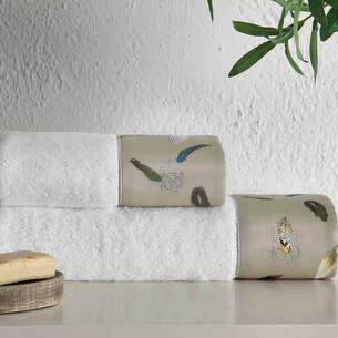 Подарочный набор полотенец для ванной 2 пр. Tivolyo Home GALA хлопковая махра хаки