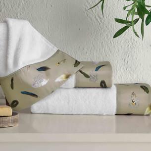 Подарочный набор полотенец для ванной 3 пр. + спрей Tivolyo Home GALA хлопковая махра хаки