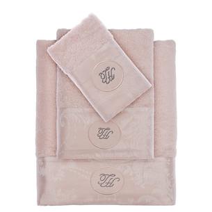 Подарочный набор полотенец для ванной 3 пр. + спрей Tivolyo Home GRANT хлопковая махра пудра