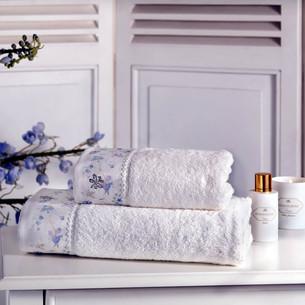 Подарочный набор полотенец для ванной 3 пр. + спрей Tivolyo Home IRIS хлопковая махра кремовый