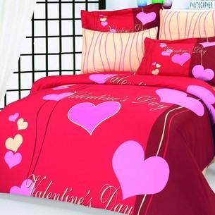 Постельное белье Le Vele LOVERS хлопковый сатин делюкс красный евро
