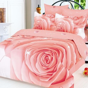 Постельное белье Le Vele STARS хлопковый сатин делюкс розовый 1,5 спальный