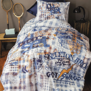 Комплект подросткового постельного белья Issimo Home RANFORCE REBEL хлопковый ранфорс голубой 1,5 спальный