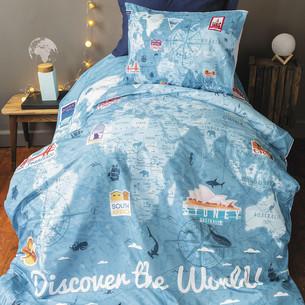 Комплект подросткового постельного белья Issimo Home RANFORCE MAPPIE хлопковый ранфорс голубой 1,5 спальный