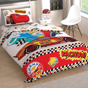 Детское постельное белье TAC CARS KACHOW хлопковый ранфорс 1,5 спальный