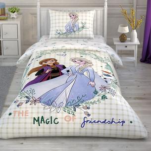 Детское постельное белье TAC FROZEN 2 FRIENDSHIP хлопковый ранфорс 1,5 спальный
