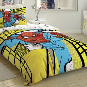 Детское постельное белье TAC SPIDERMAN EXCITING JUMP хлопковый ранфорс 1,5 спальный