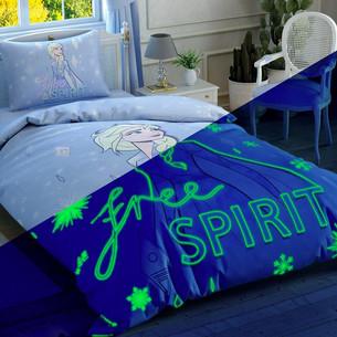 Детское постельное белье светящееся TAC FROZEN 2 FREE SPIRIT хлопковый ранфорс евро