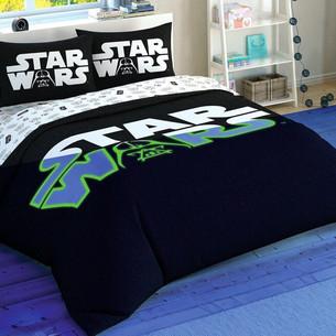Детское постельное белье светящееся TAC STAR WARS GLOW хлопковый ранфорс евро