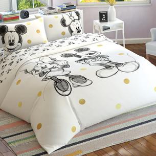 Детское постельное белье TAC MINNIE&MICKEY GLITTER хлопковый ранфорс евро
