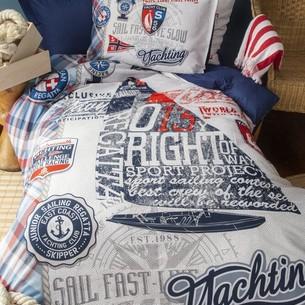 Комплект подросткового постельного белья Issimo Home CRUISER хлопковый ранфорс синий 1,5 спальный