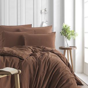 Постельное белье Karna STONEWASH хлопковый сатин коричневый евро