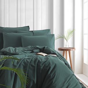 Постельное белье Karna STONEWASH хлопковый сатин темно-зеленый евро