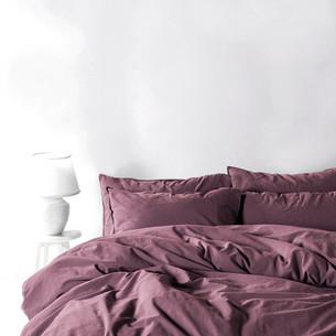 Постельное белье Karna STONEWASH хлопковый сатин фиолетовый евро