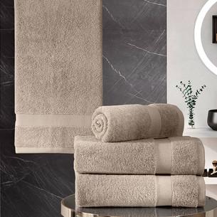 Подарочный набор полотенец для ванной 50х100(2), 70х140(2) Karna AREL хлопковая махра капучино