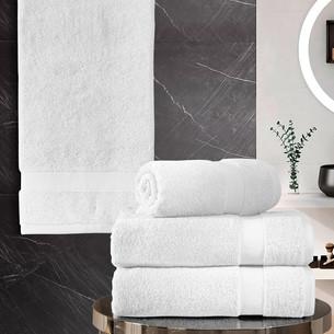 Подарочный набор полотенец для ванной 50х100(2), 70х140(2) Karna AREL хлопковая махра белый